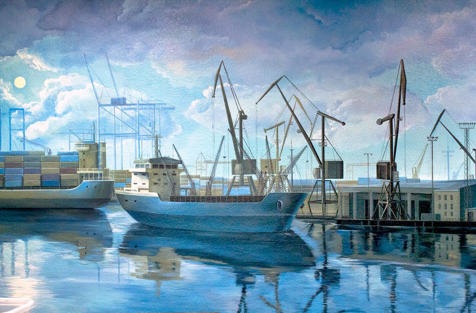 fragment of the mural painting with a container ship