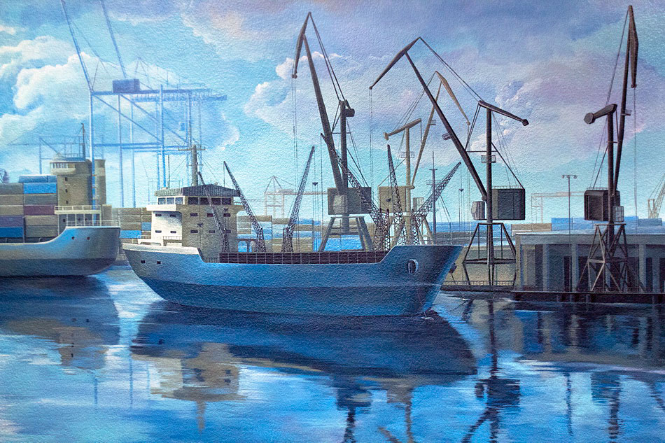 mural painting with a container boat