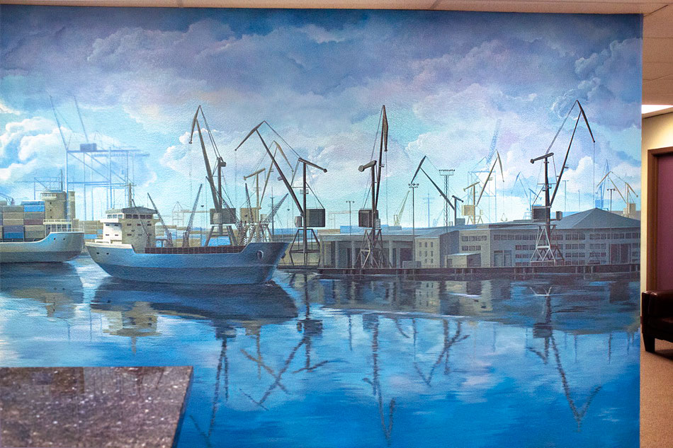 mural painting with port structures