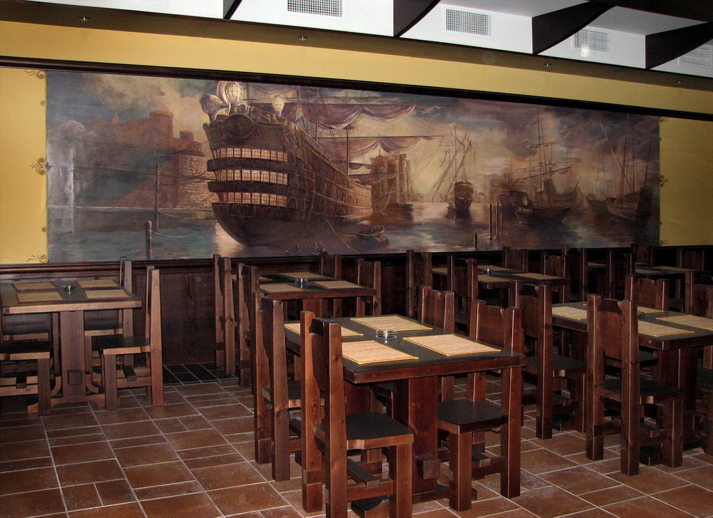 Interior wall murals in a restaurant denver custom