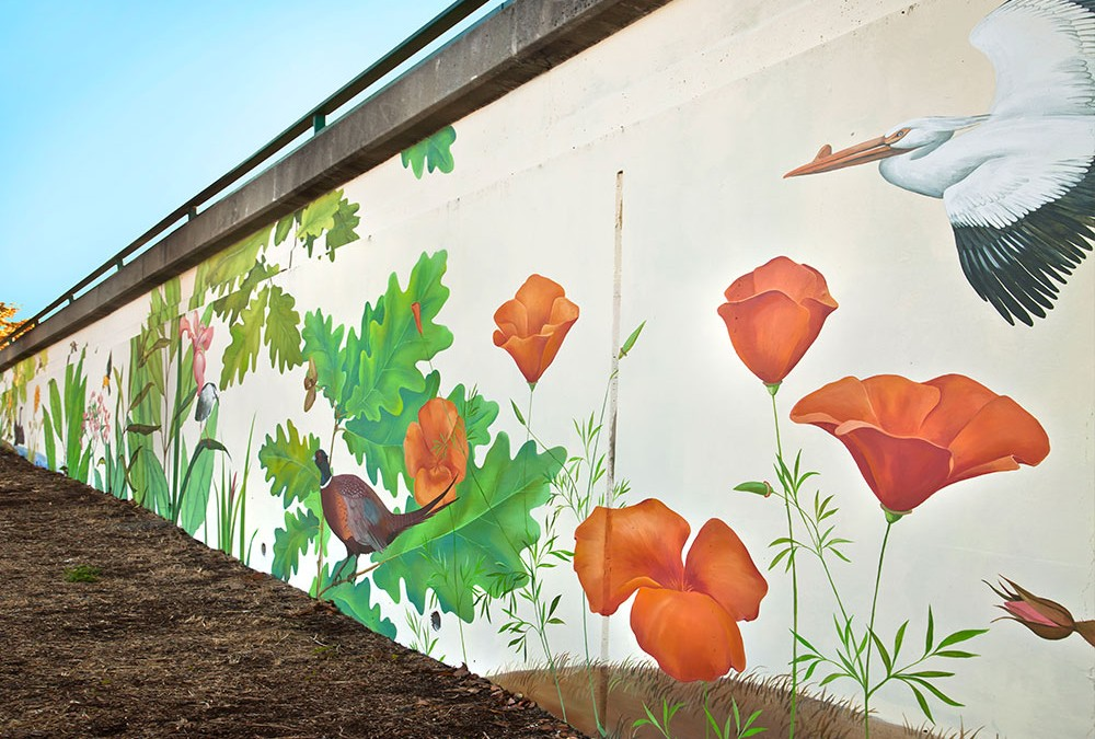 Outdoor Wall Art in Oakland California Native birds plants of