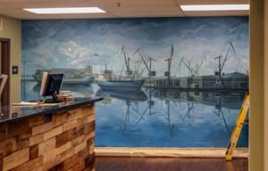 marijuana dispensary mural Port of Oakland, Bay area muralist, Yulia Avgustinovich hand painted wall murals, decorative painting