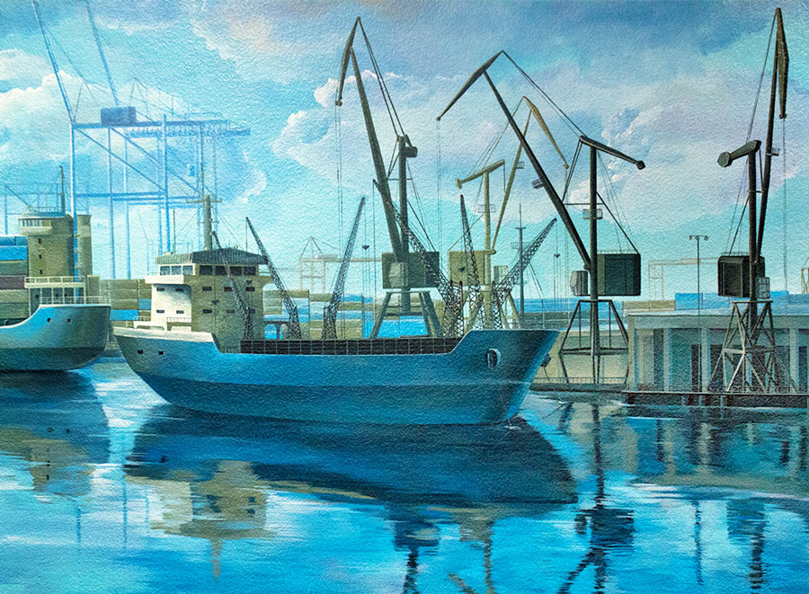 Interior Mural Painting: Port of Oakland