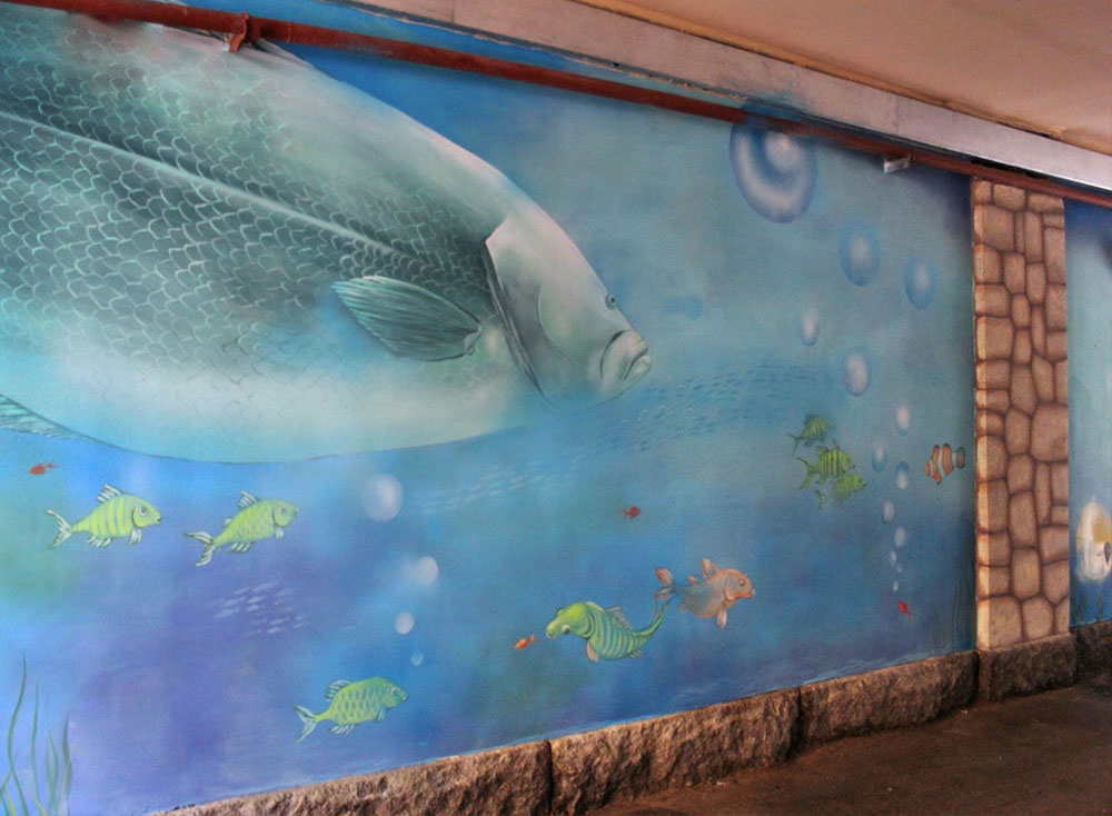 Wall murals denver muralist and decorative painter for Aquarium mural