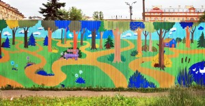 A fragment of the fence murals surrounding metro construction zone