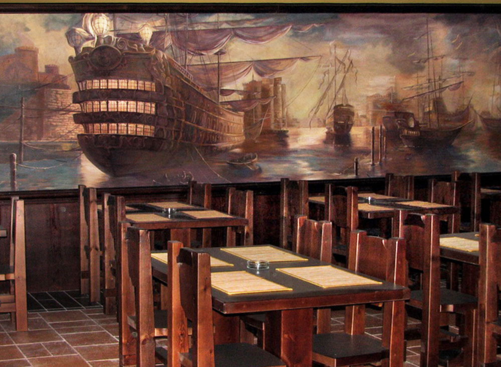 Interior Wall Murals in a Restaurant