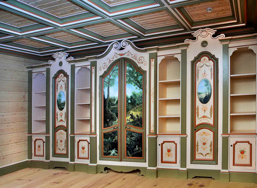 Decorative Painting of the Furniture, Painted Cabinets in a Private Office