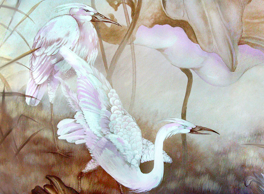 Interior Mural Painting with Japanise White Herons