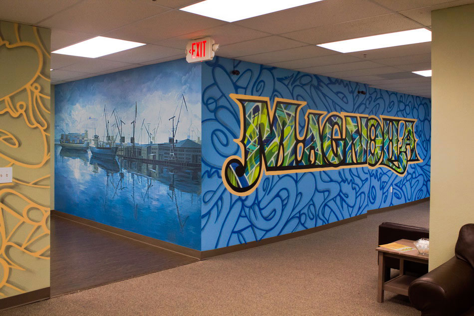Bay Area wall mural painting in blue tones