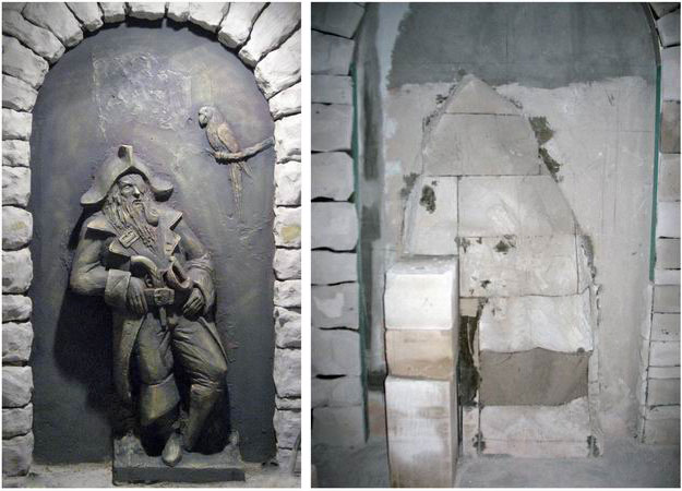 Sculpture of the pirate Flint, wall decoration