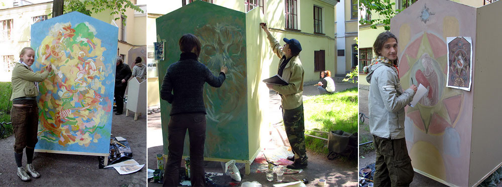 Sketch competition for the wall mural. Artists: Yulia Avgustinovich, Yulia Gorshkova, Alexey Bogatyrev & Pavel Pavlenskiy