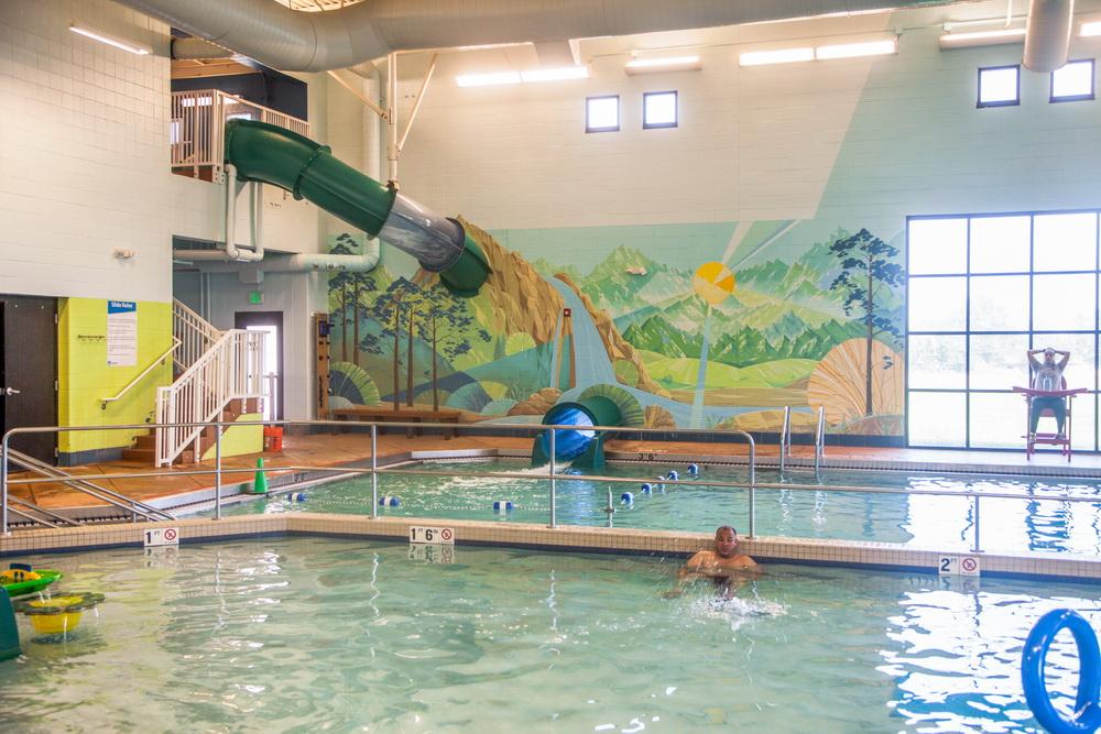 Interior Mural Lakewood Link Recreation Center Swimming Pool Wall Art Yulia Avgustinovich Denver Muralist Public