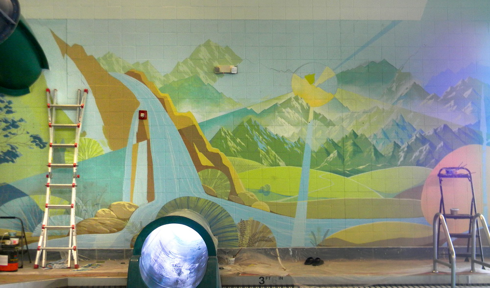 Interior_Mural_Lakewood_Link_Recreation_Center_Swimming_pool_wall_art_Yulia_Avgustinovich_Denver_Muralist_Public_Art