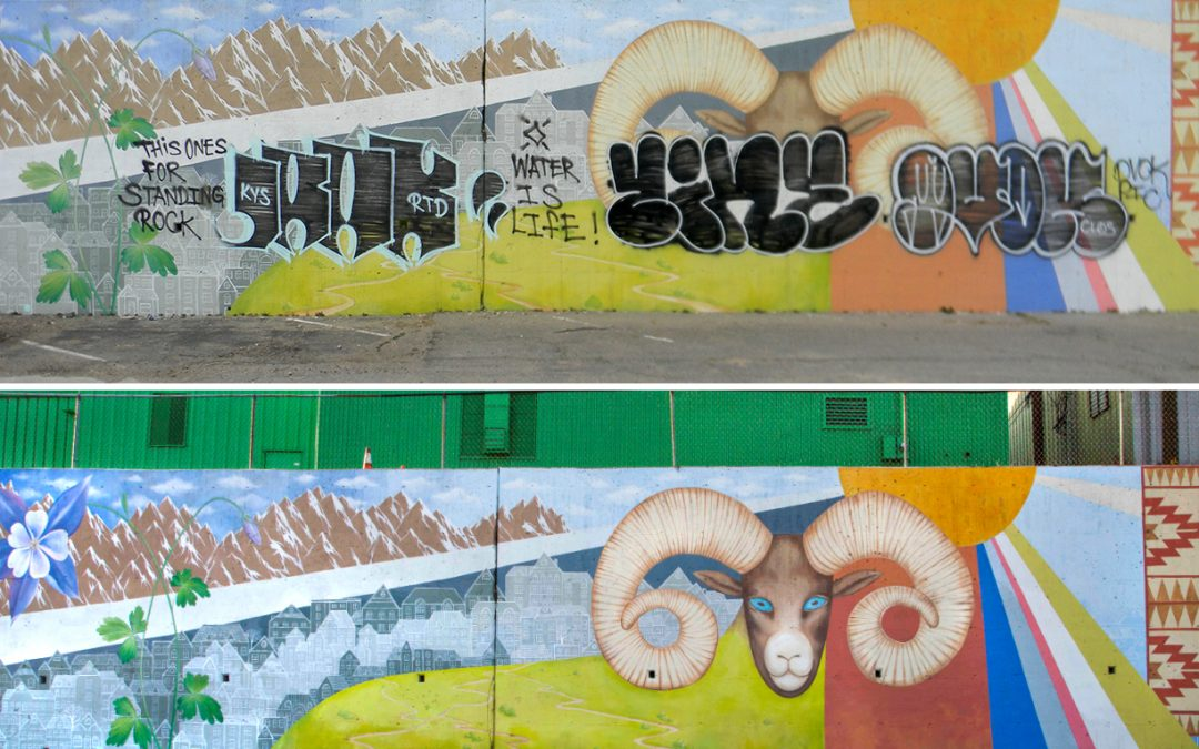 "Graffiti Vandalism of my Mural ""Viva Colorado"" on Alameda and Santa Fe drive in Denver CO"
