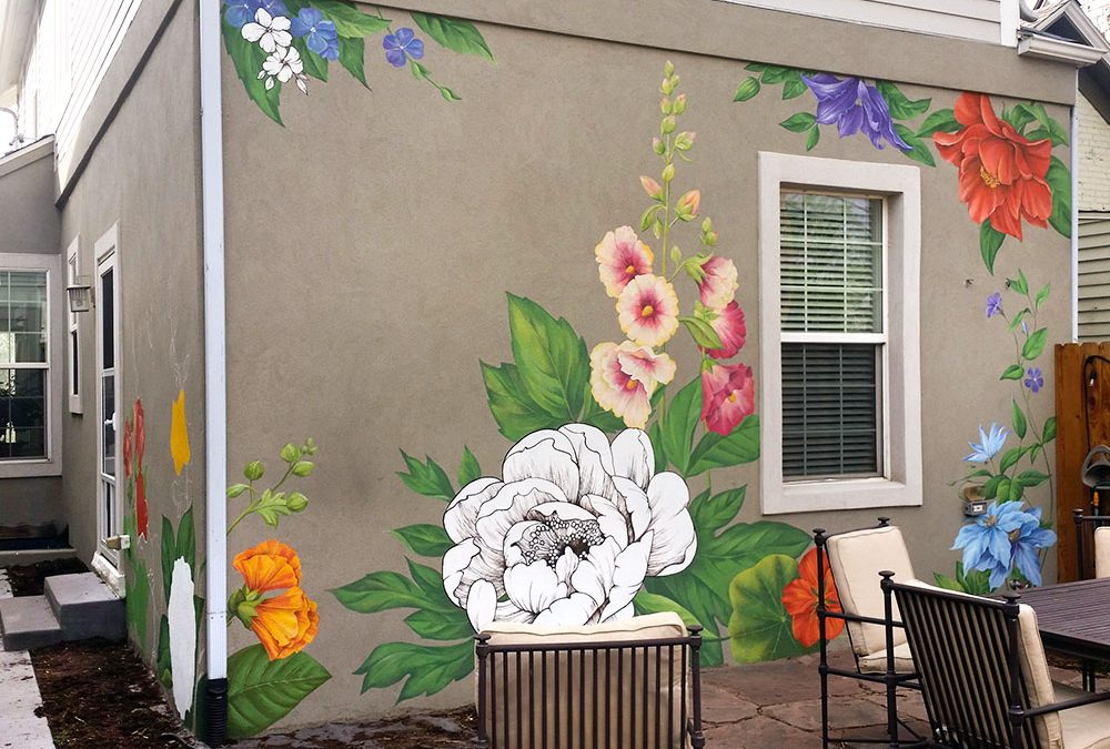Creation of Flower Wall Mural in RINO, Denver