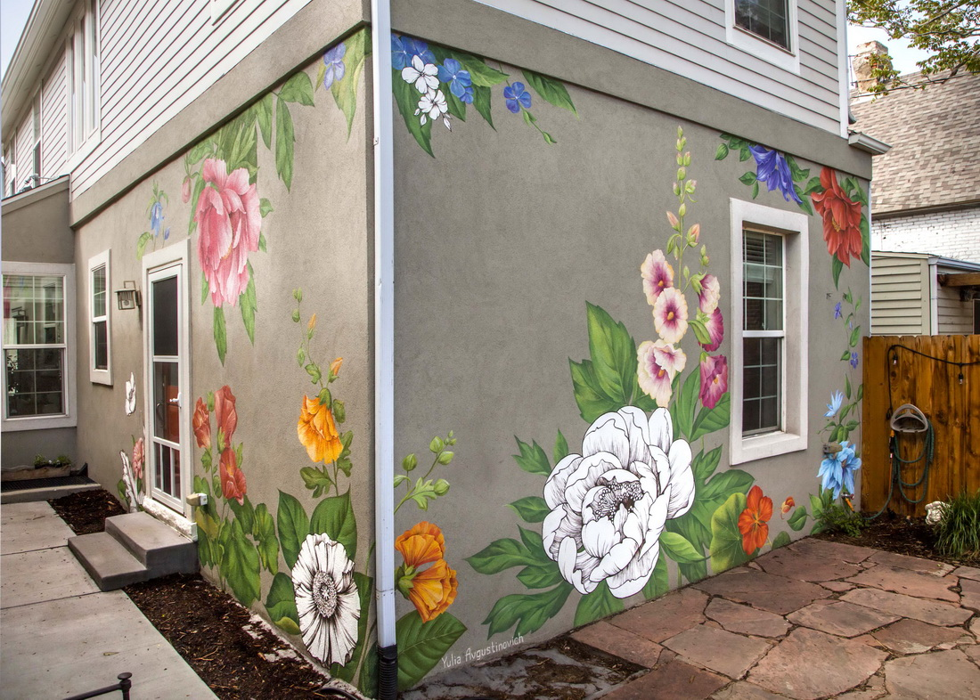 Flower Wall Art. Mural Painted On The Walls Of A Private