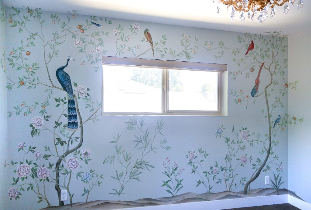 Nursery Mural in Chinoiserie Style