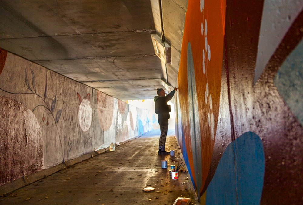 Underpass Mural Painting Process in Longmont, CO