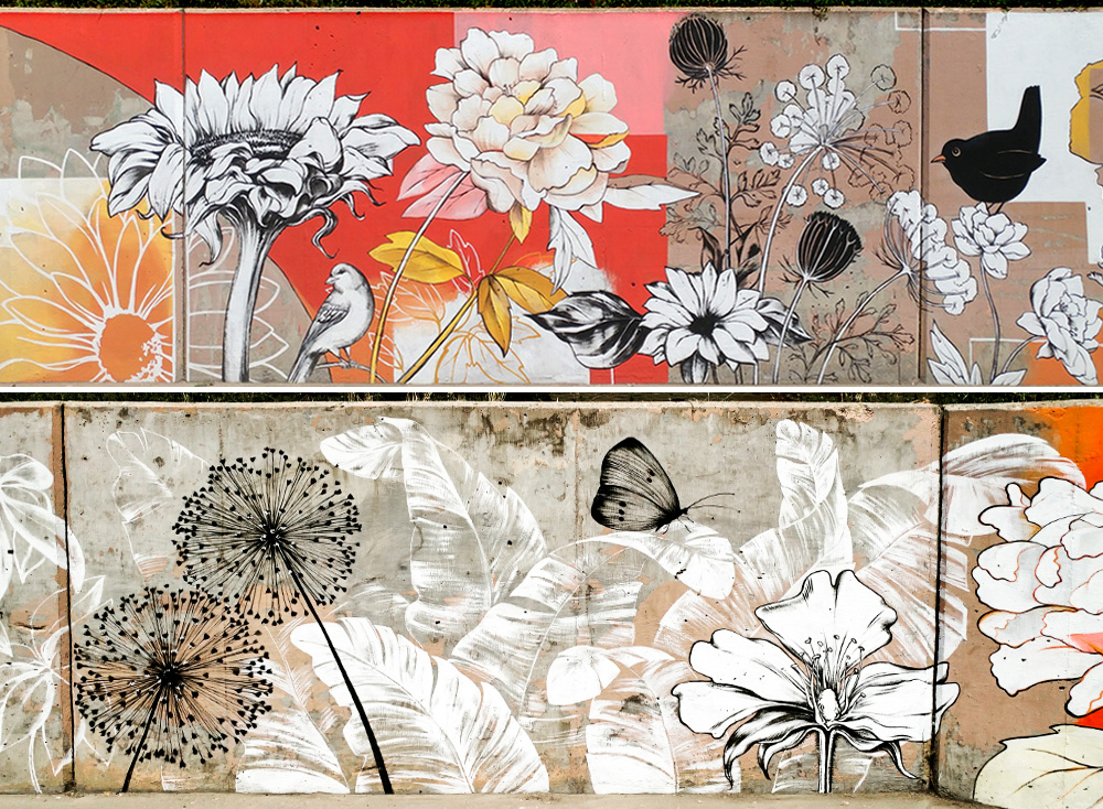 Floral Mural at the Cherry Creek Trail in Denver